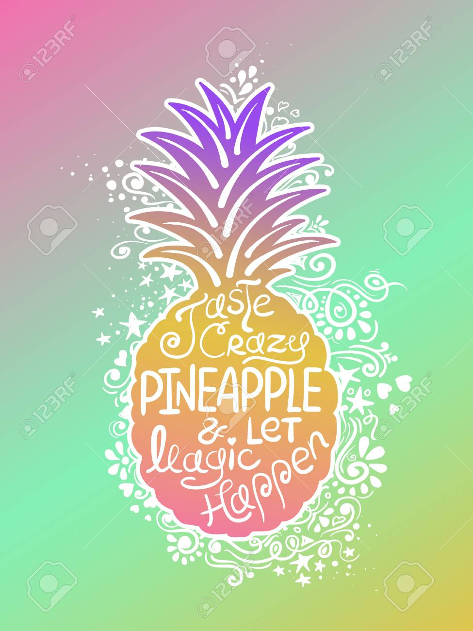 Illustration Of Pineapple Silhouette With Pattern And Hand Drawn Lettering Creative Typography Poster Phrase