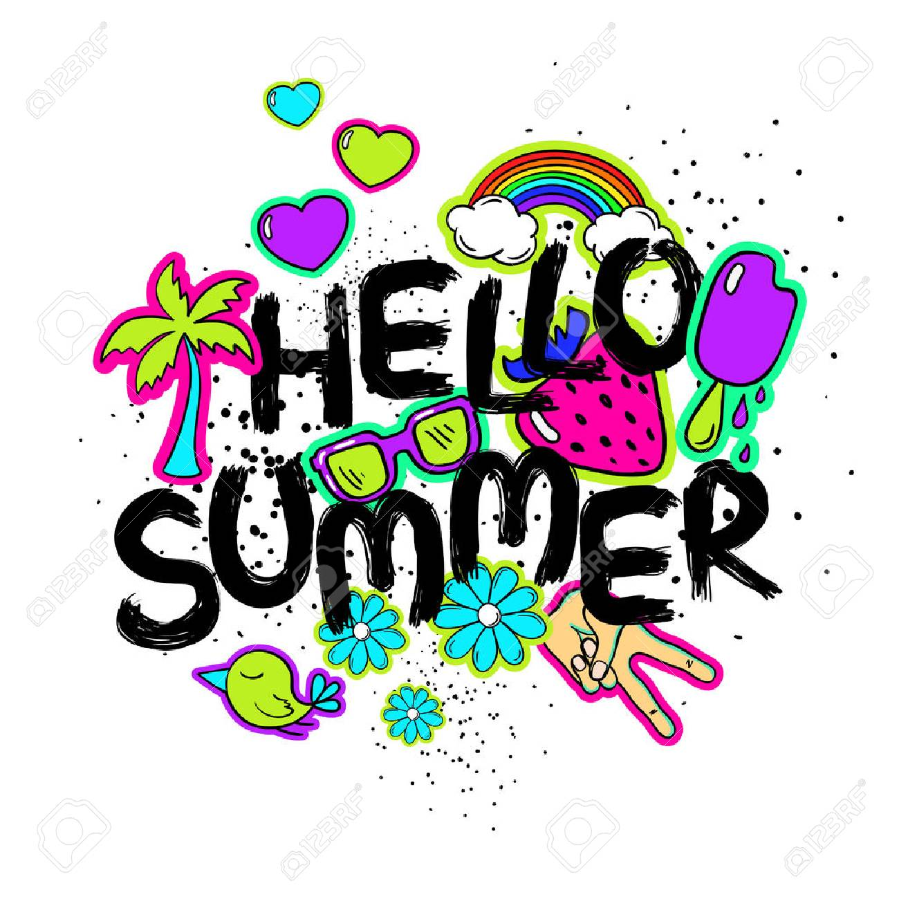 Funny Typography Card With Hand Drawn Lettering Hello Summer. Colorful  Bright Stickers, Patches,