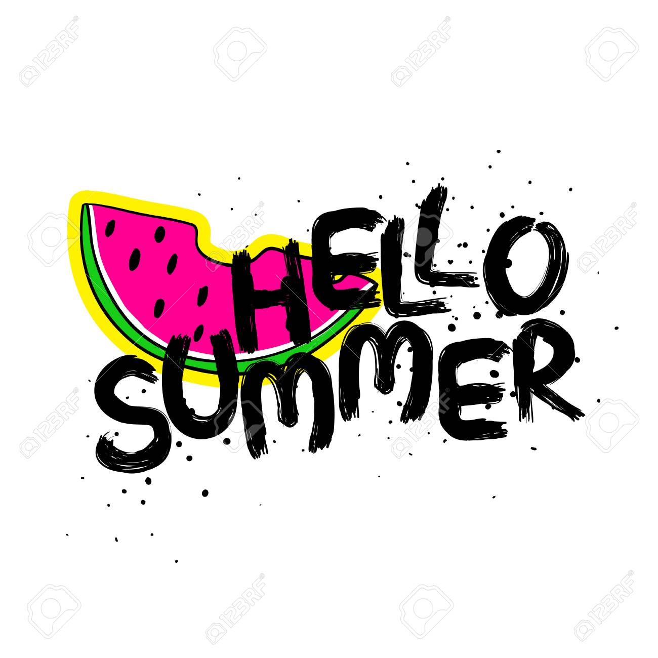 Funny Typography Card With Hand Drawn Lettering Hello Summer And Watermelon  Slice Sticker. Stock Vector