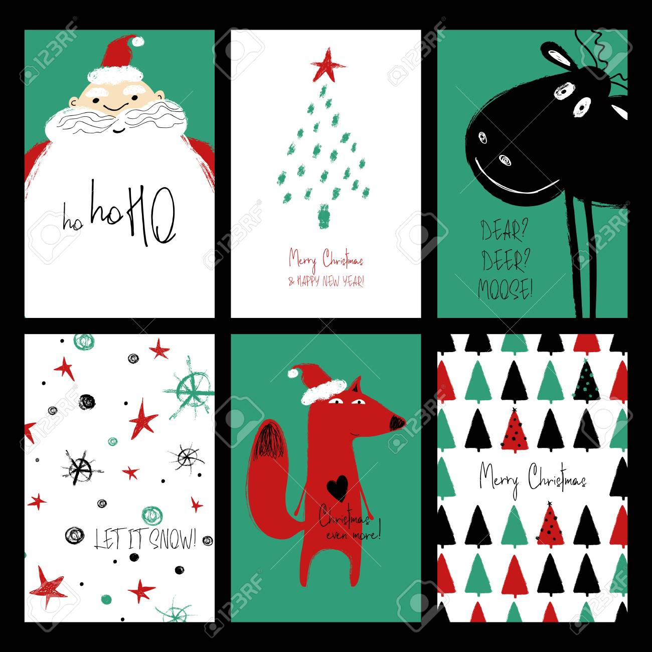 Grappige Kerstkaarten E Cards.Set Of Christmas Greeting Cards Funny Hand Drawn Grunge Cards