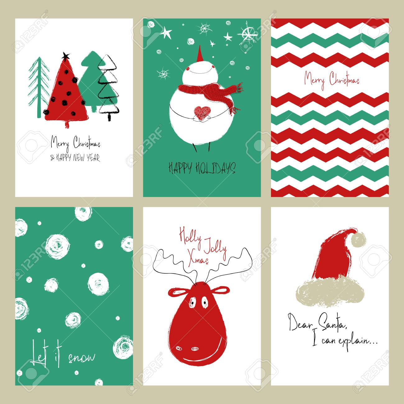 Jeu De Cartes De Voeux De Noël. Cartes De Grunge Dessinés à La