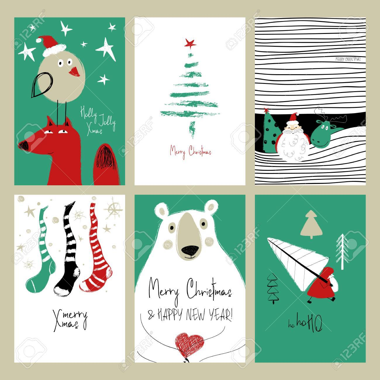 Set Of Christmas Greeting Cards Funny Hand Drawn Grunge With Santa Claus Deer