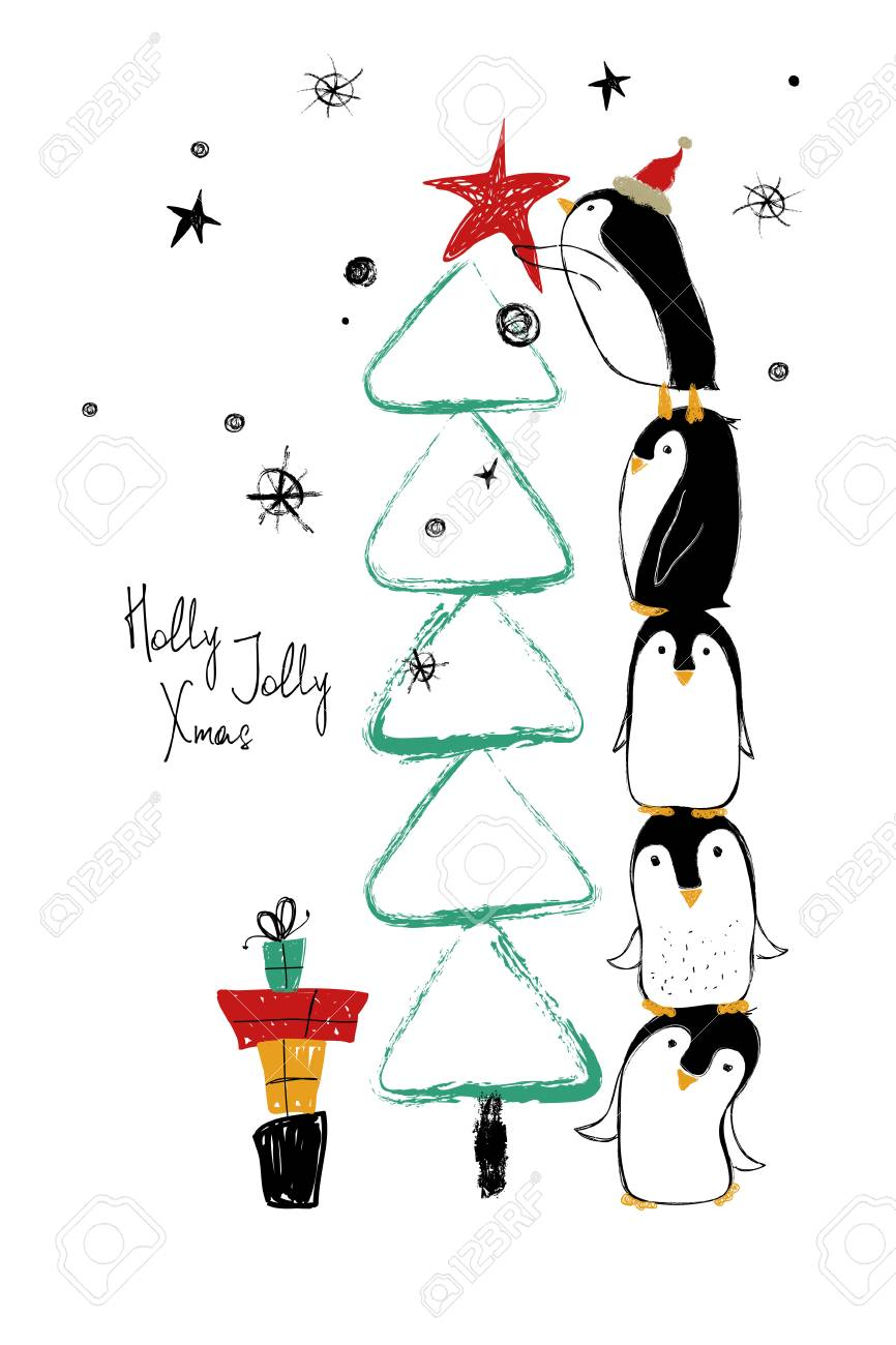 Hand drawn greeting card with funny penguins standing on top of one another and decorate the Christmas tree. - 90181409