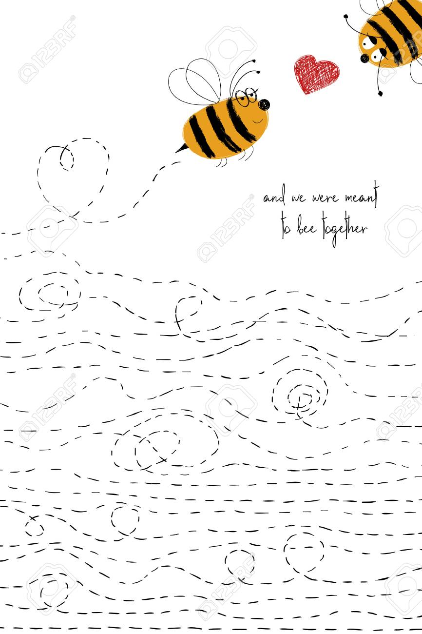 Love Greeting Card With Cute Couple Of Bees Funny Poster Or