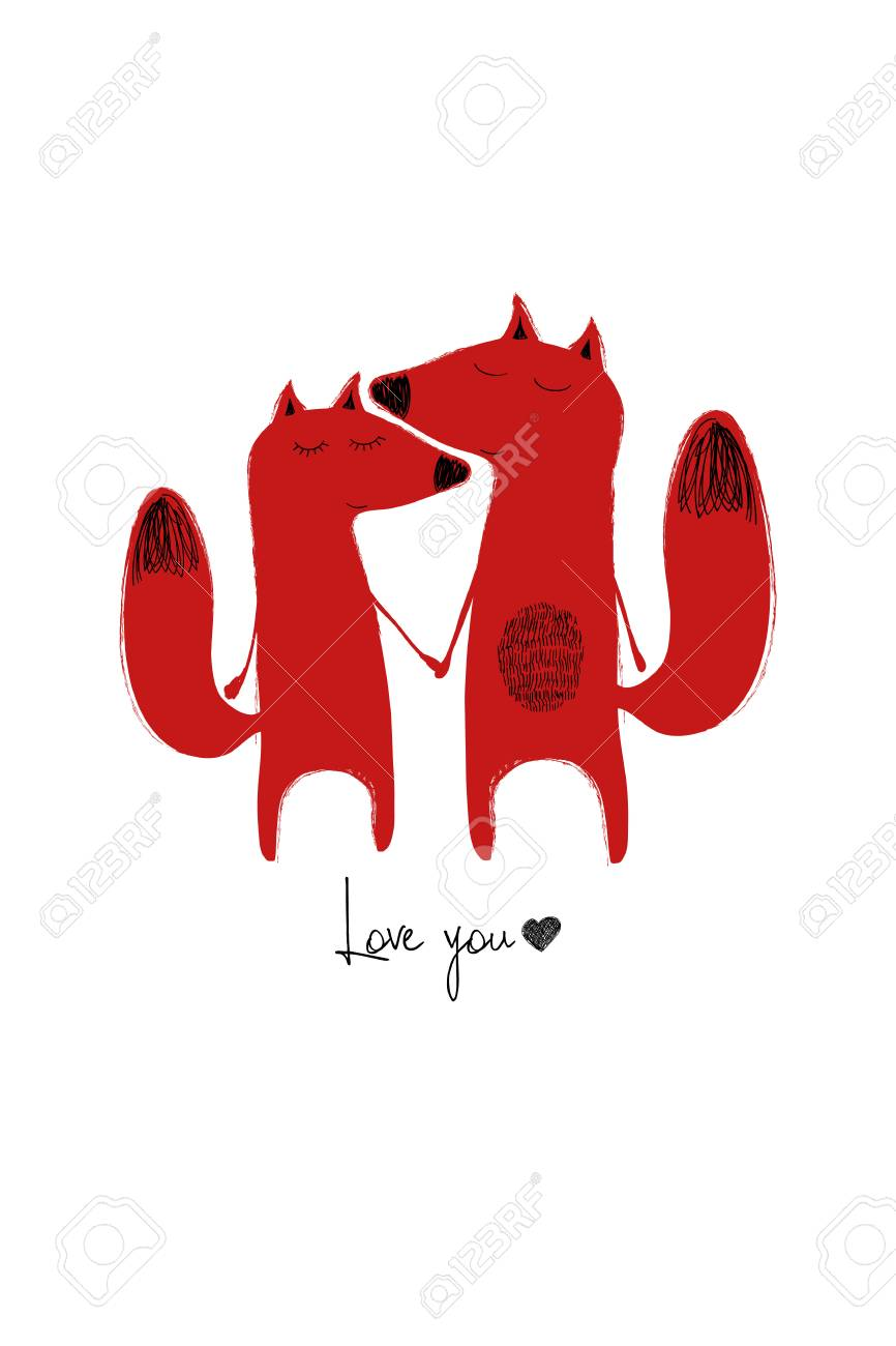 Love greeting card with cute couple of foxes holding hands funny love greeting card with cute couple of foxes holding hands funny poster or card for kristyandbryce Choice Image