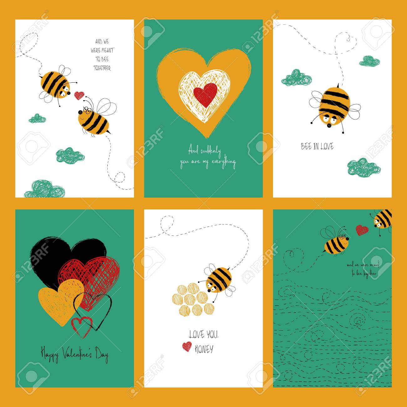 Set of love greeting cards with cute bees and heart collection set of love greeting cards with cute bees and heart collection of posters or cards m4hsunfo