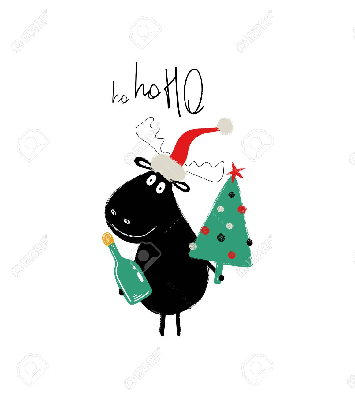 Moose in a Santa hat enclosure card