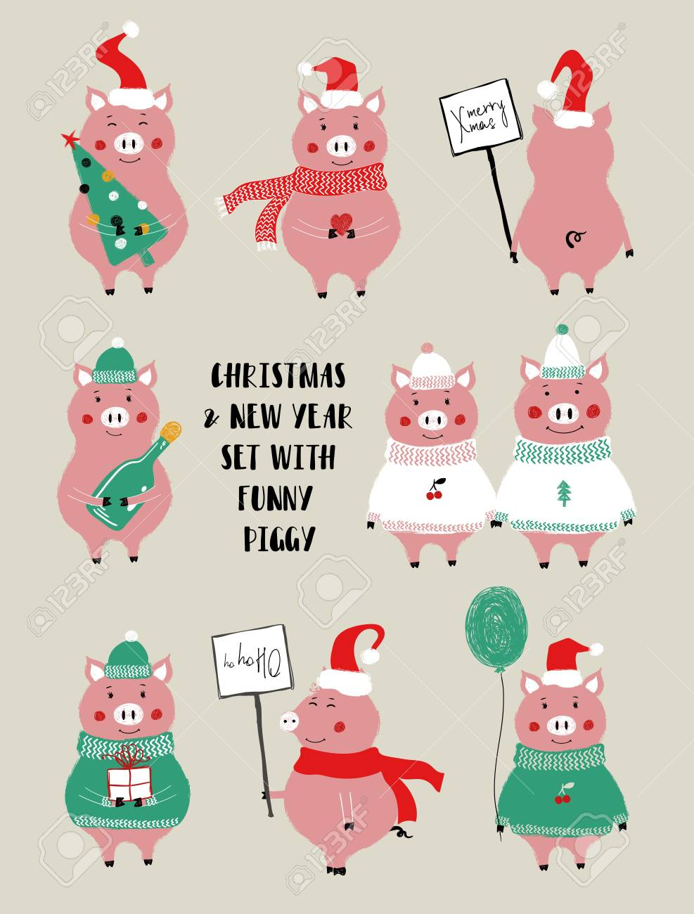 Christmas And New Year Set Of Icons With Cute Pink Pig. Perfect For ...