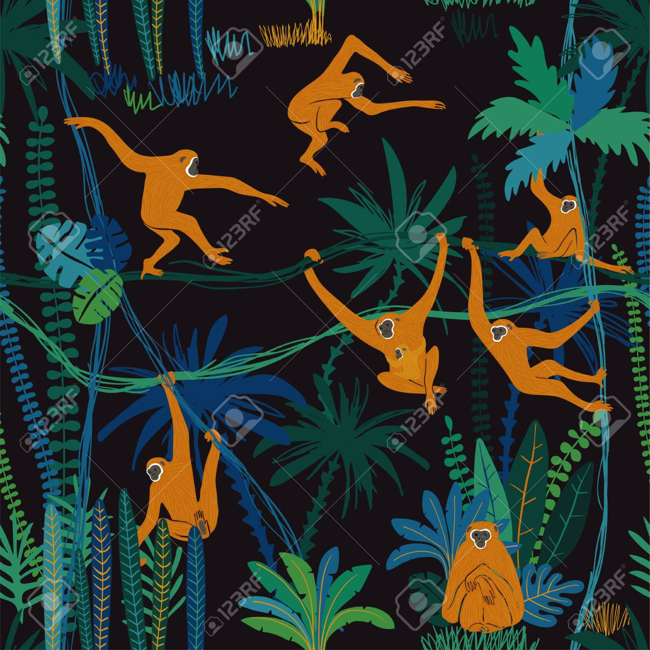 Colorful wildlife animals print. Seamless pattern with funny gibbon monkey in wild jungle forest. - 118439245