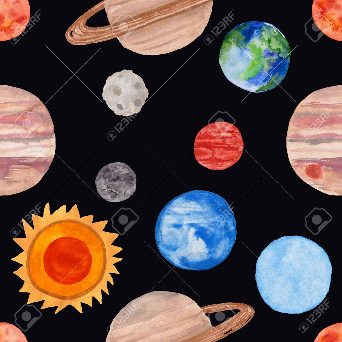Space Seamless Pattern With Planets Of The Solar System On A Black Background Kids Gouache Painted Funny Wallpaper Stock Photo Picture And Royalty Free Image Image 147706747