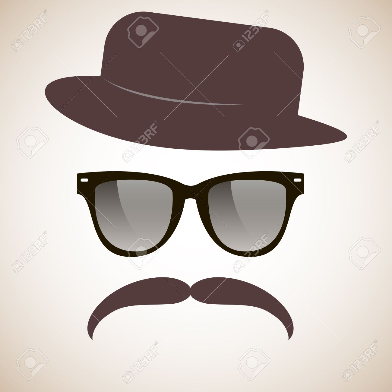 Mustache Hat And Glasses Wall Art Decal Sticker Home Decor - Polyvore