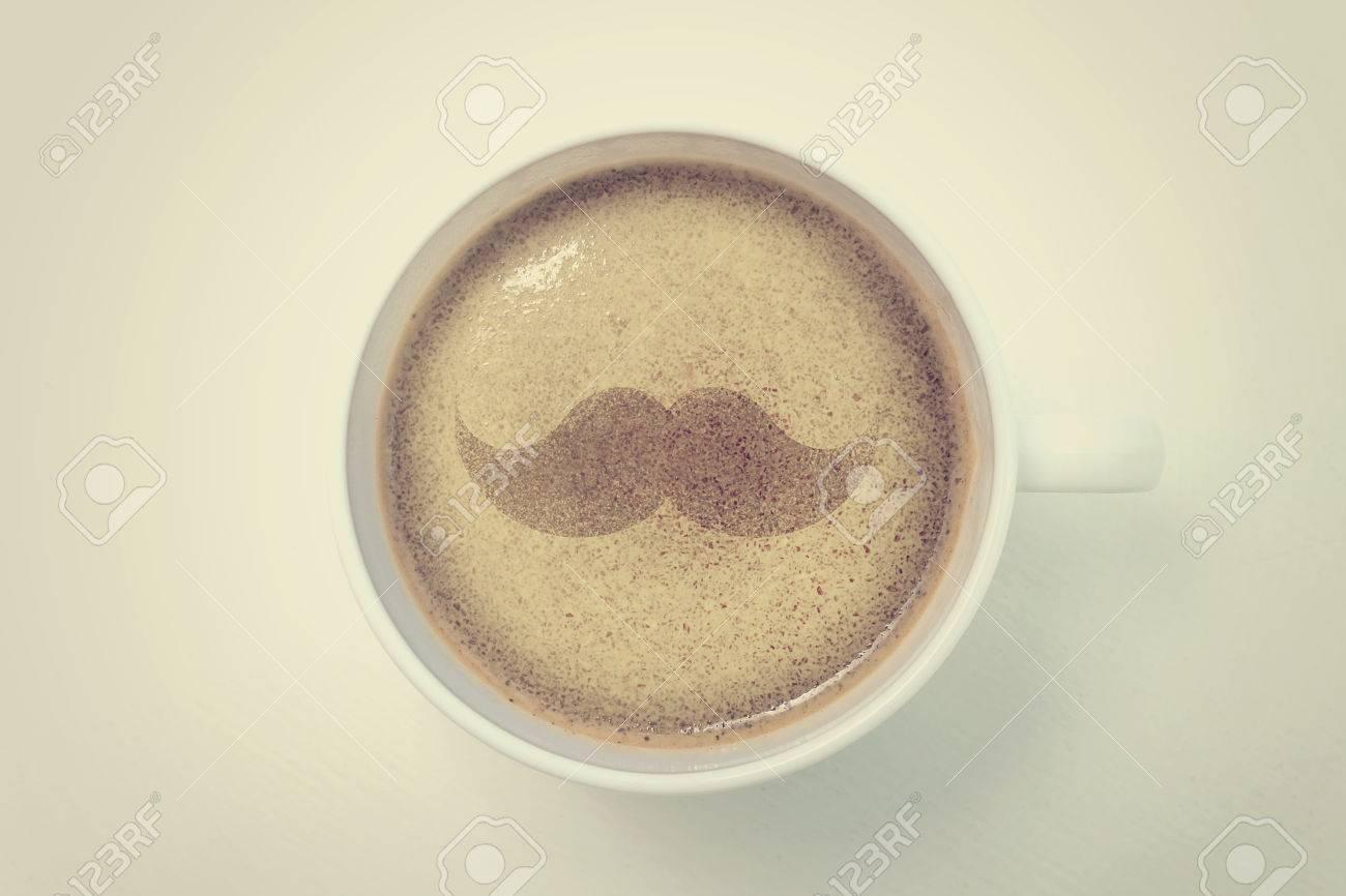 Mustache Coffee, Mustache Drawing On Latte Art Coffee Stock Photo ...