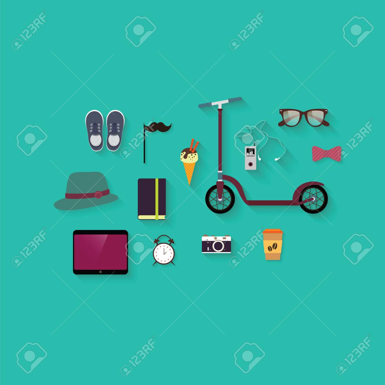 hipster flat vector icon set hipster theme scooter vintage