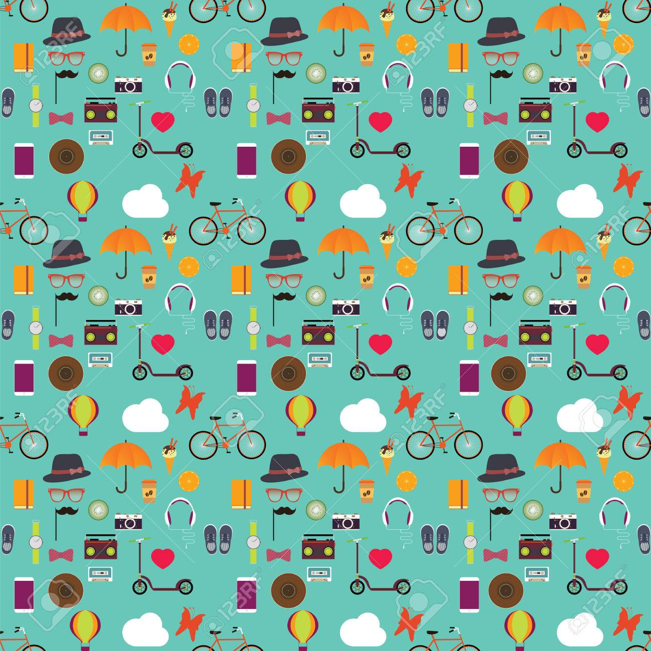 hipster seamless pattern hipster theme bicycle push scooter