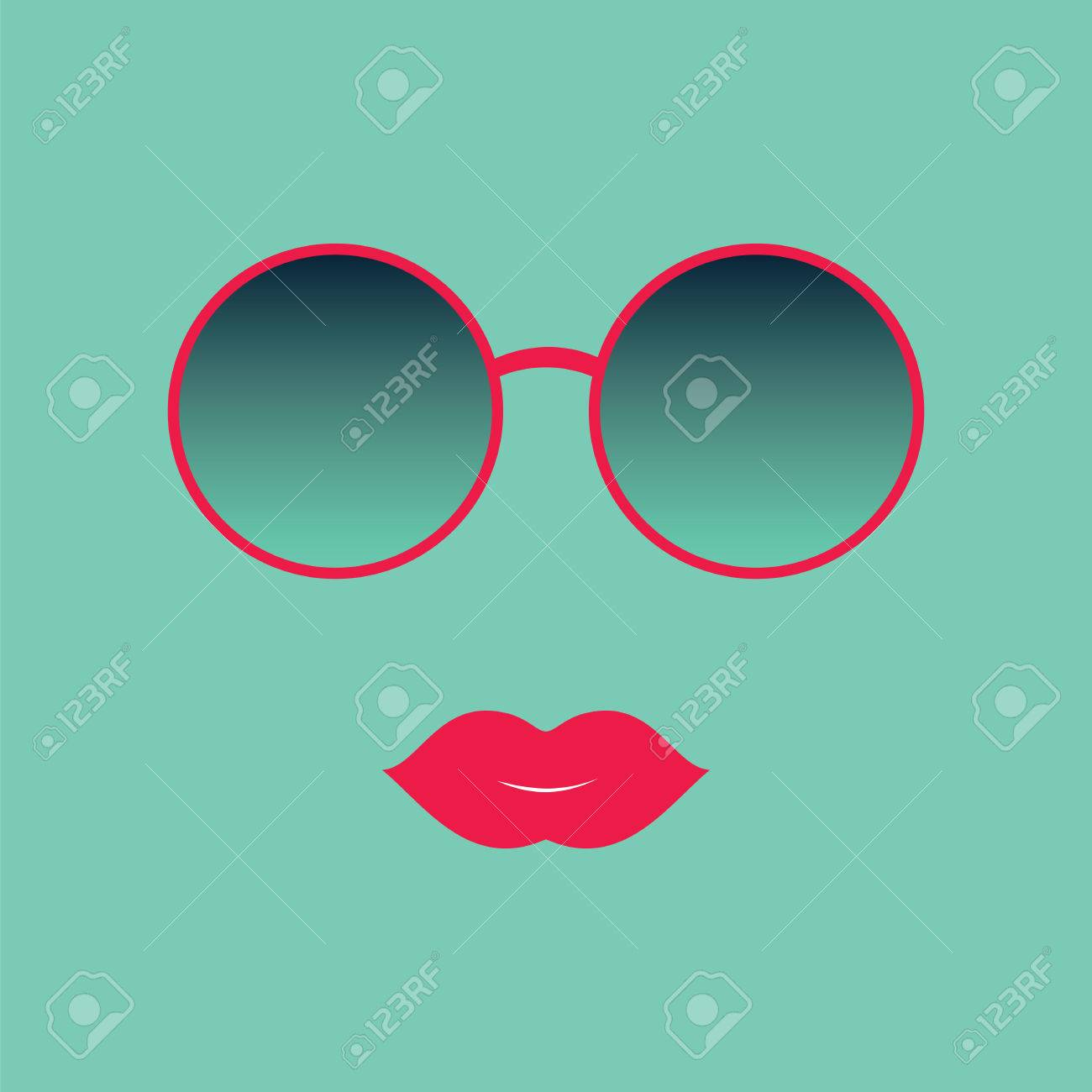 sunglasses and lips vector illustration hipster theme print