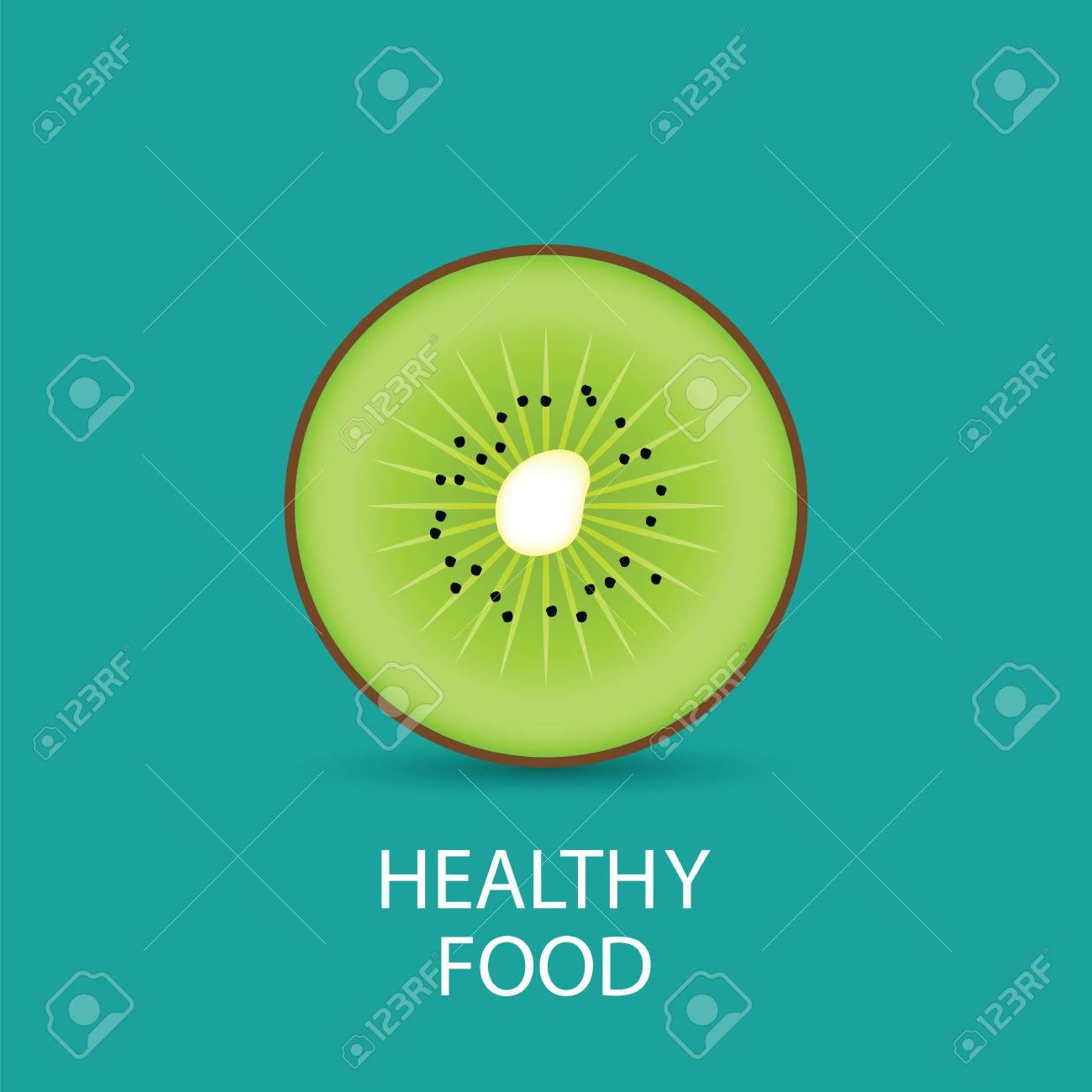 kiwi healthly food kiwi half fruit vector illustration flat