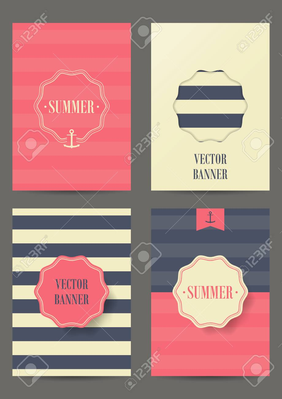 nautical card with anchor on striped background for invitation