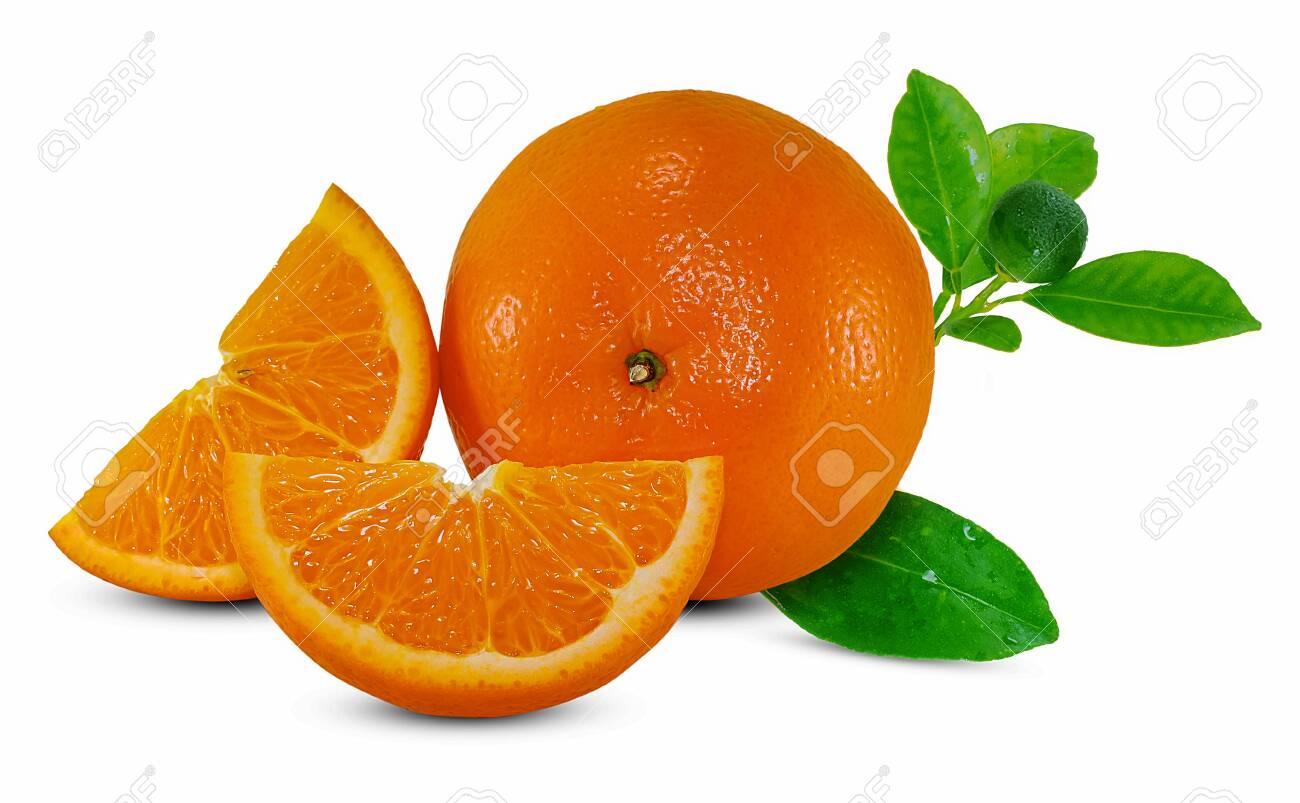 Orange fruit isolated on white - 120632246