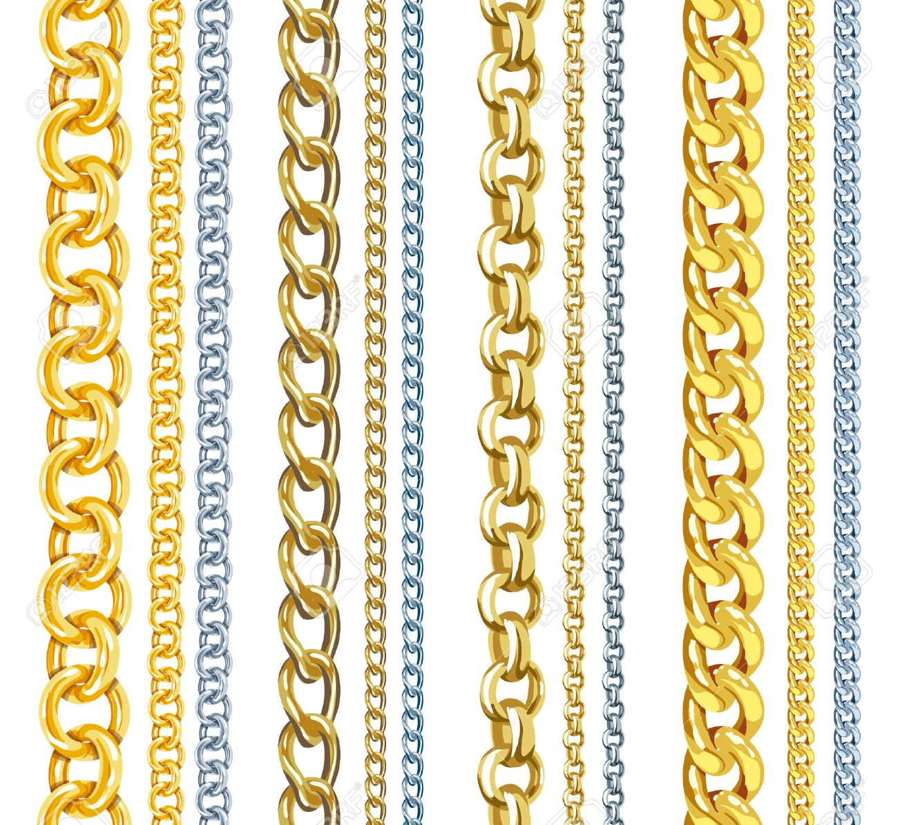 Set of realistic vector gold and silver chains - 31628880