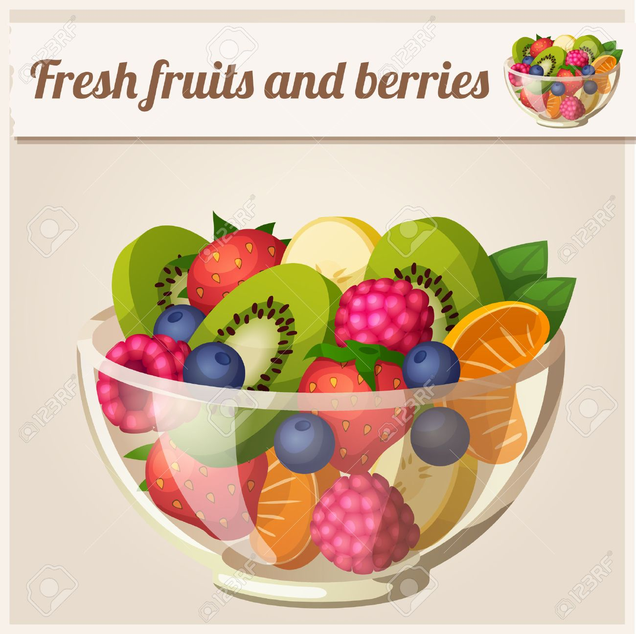 Salad with fresh fruits and berries - 38594135