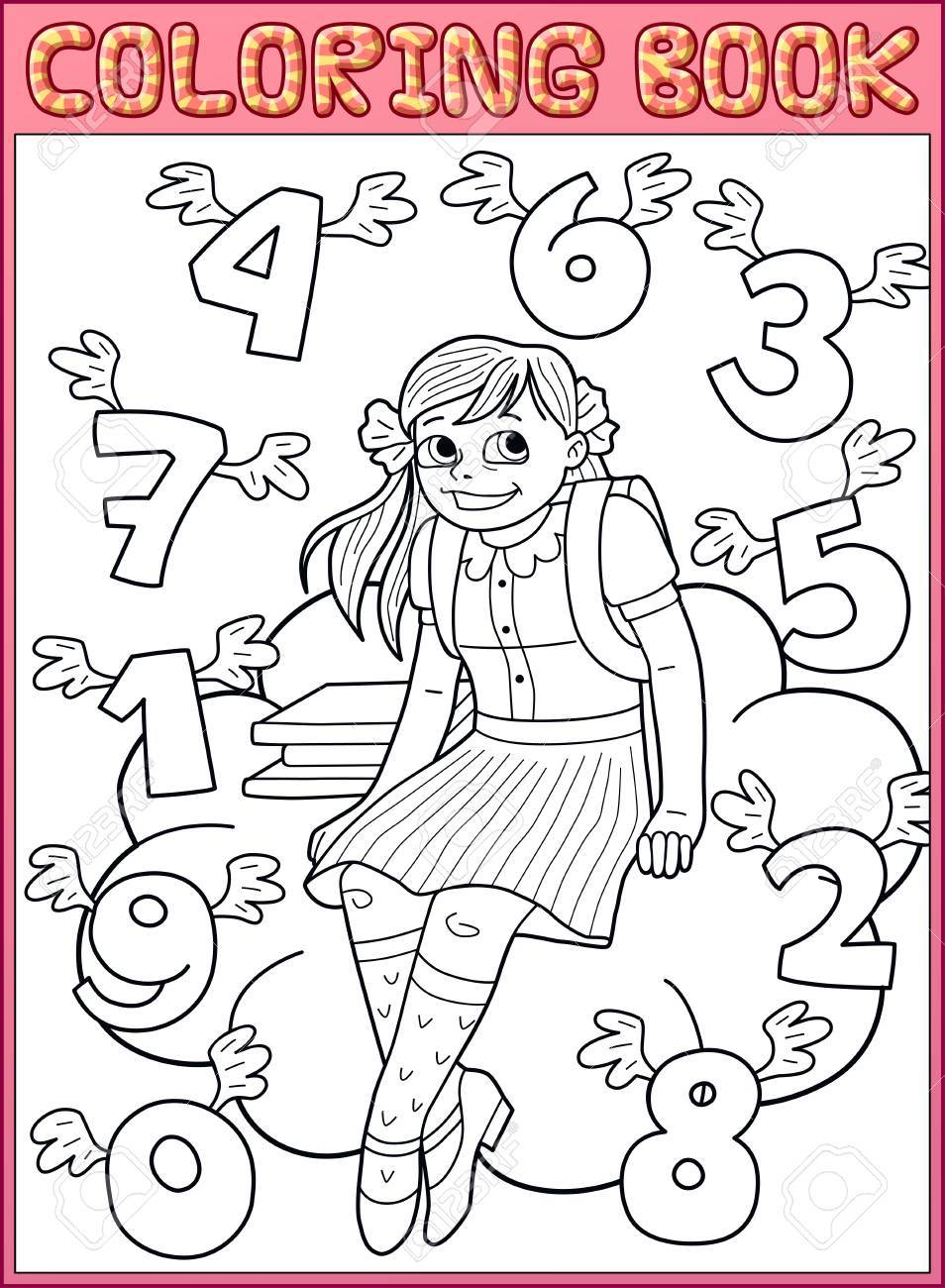 Coloring Book Page Schoolgirl And Flying Numbers Stock Vector