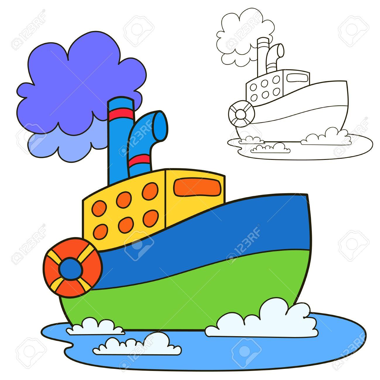 Barco De Motor Colorear Página Del Libro Ilustración Vectorial De Dibujos Animados