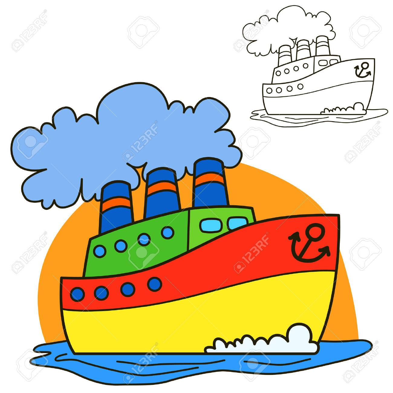 Barco De Motor Para La Página Del Libro Para Colorear