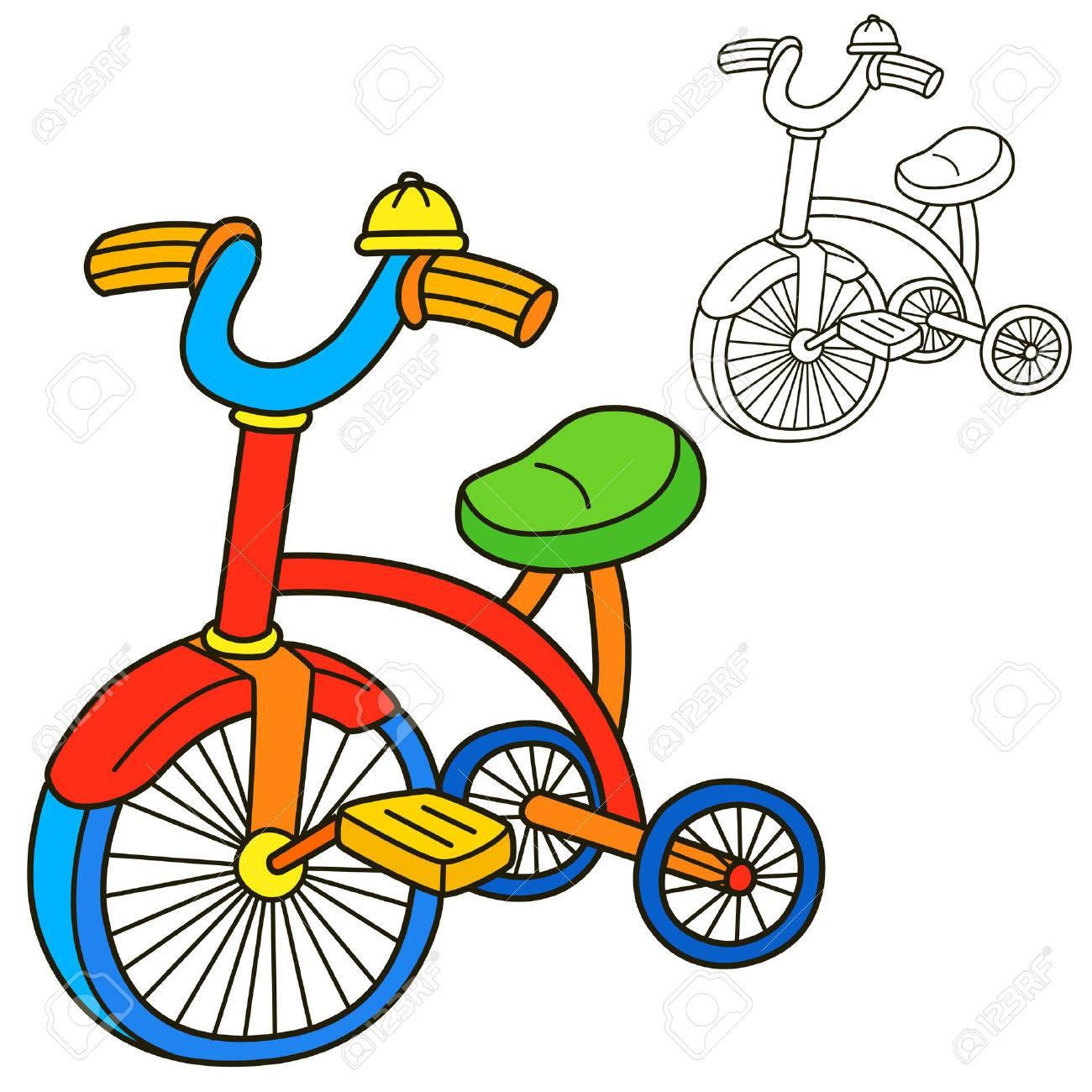 bicycle coloring book page cartoon vector illustration stock vector 44675479 - Bicycle Coloring Book