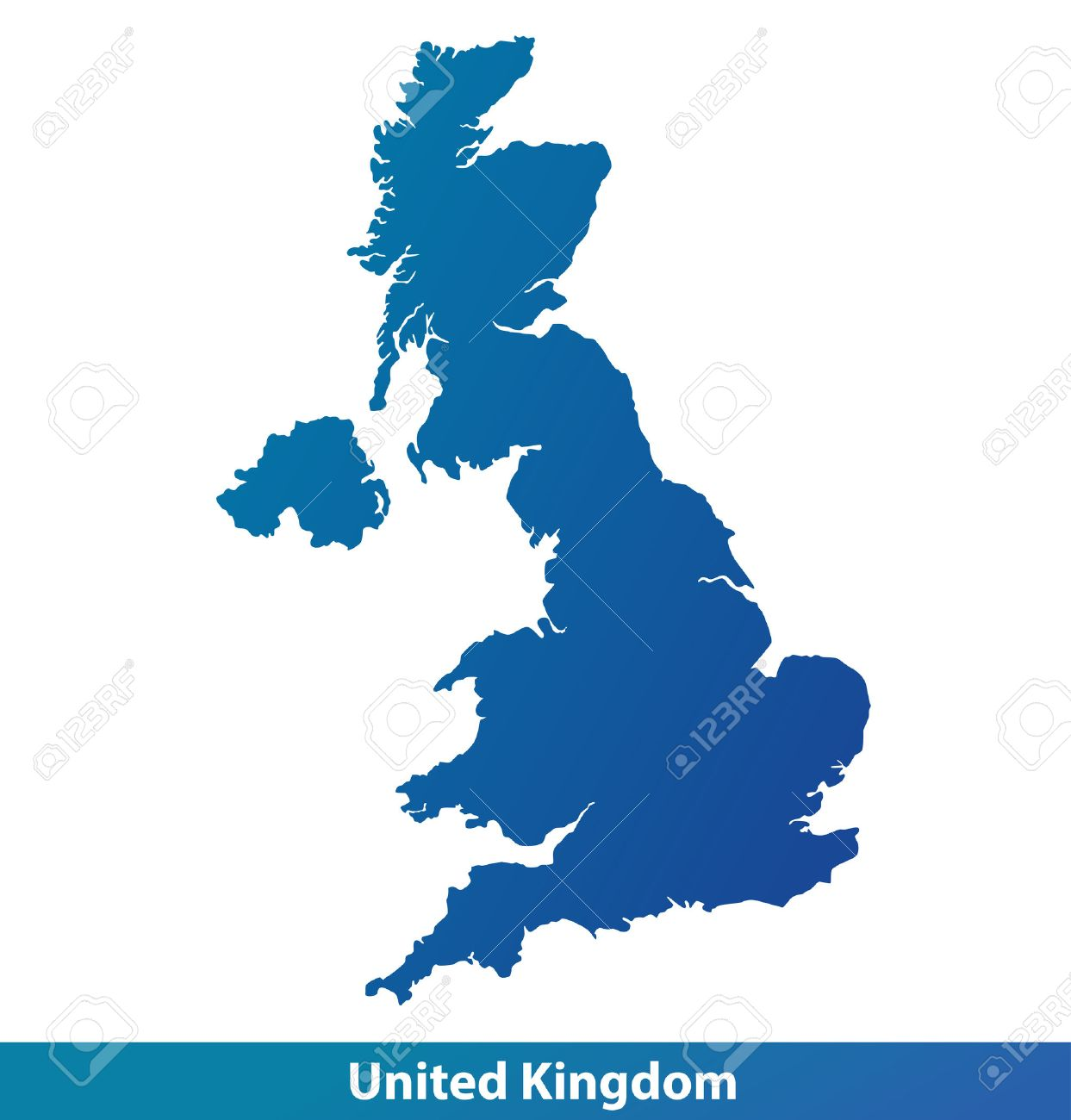 Map Of UK United Kingdom Silhouette Isolated On A White - United kingdom map vector