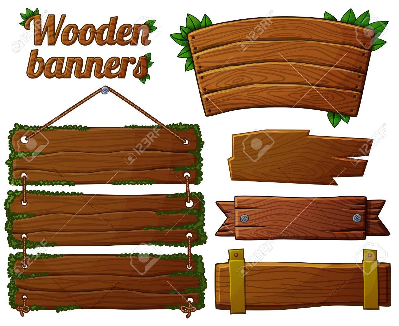 Set of dark wooden banners 2. Cartoon vector illustration. - 44675525