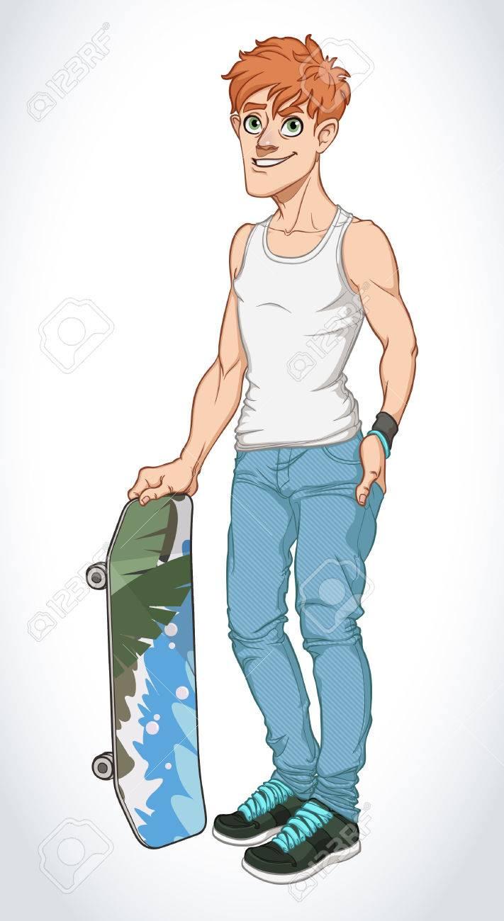 Vector Illustration of Cartoon Boy Skateboarder - 47336586