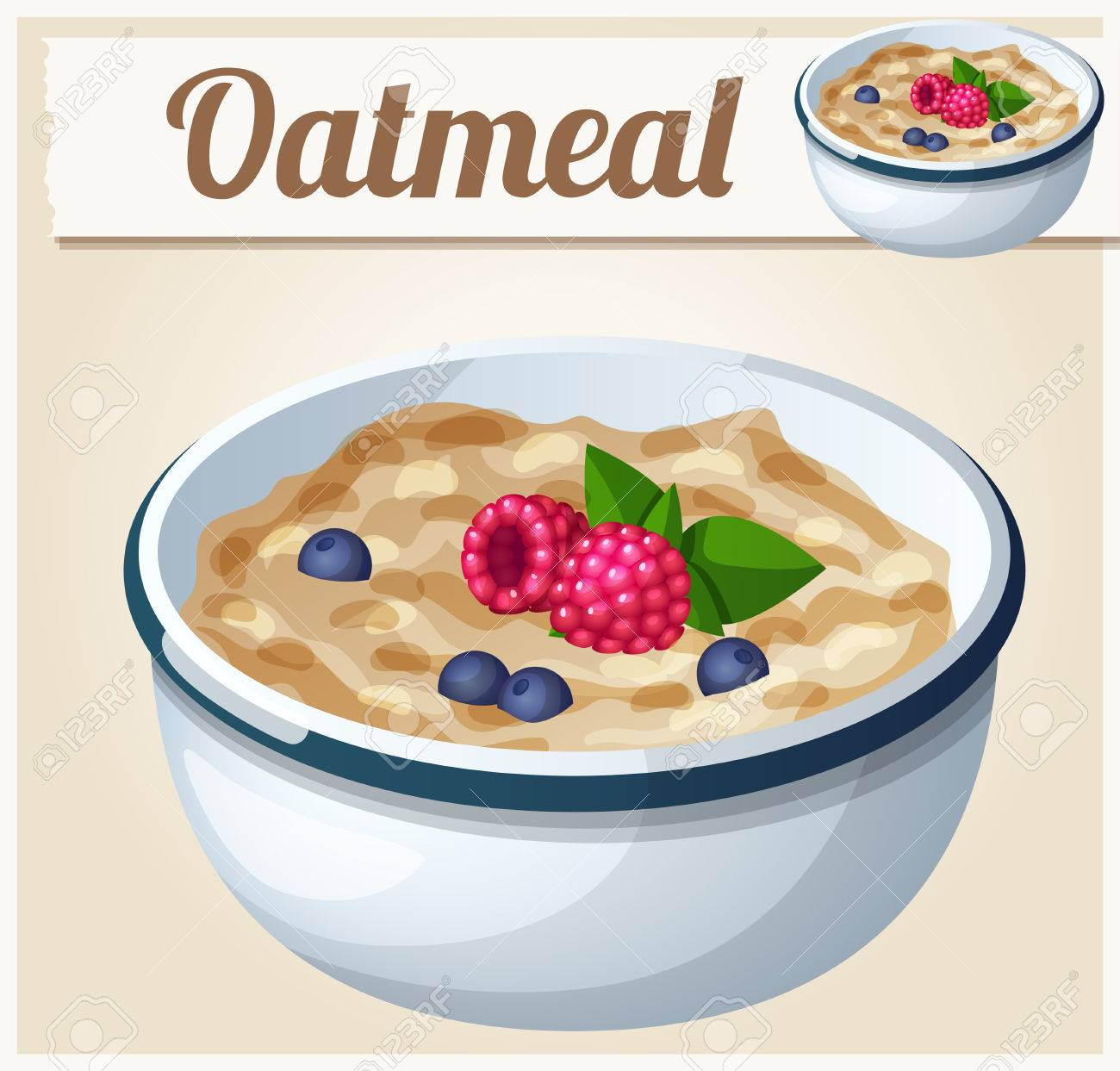 Oatmeal. Cartoon Vector Icon. Series of food and drink and ingredients for cooking. - 47336708