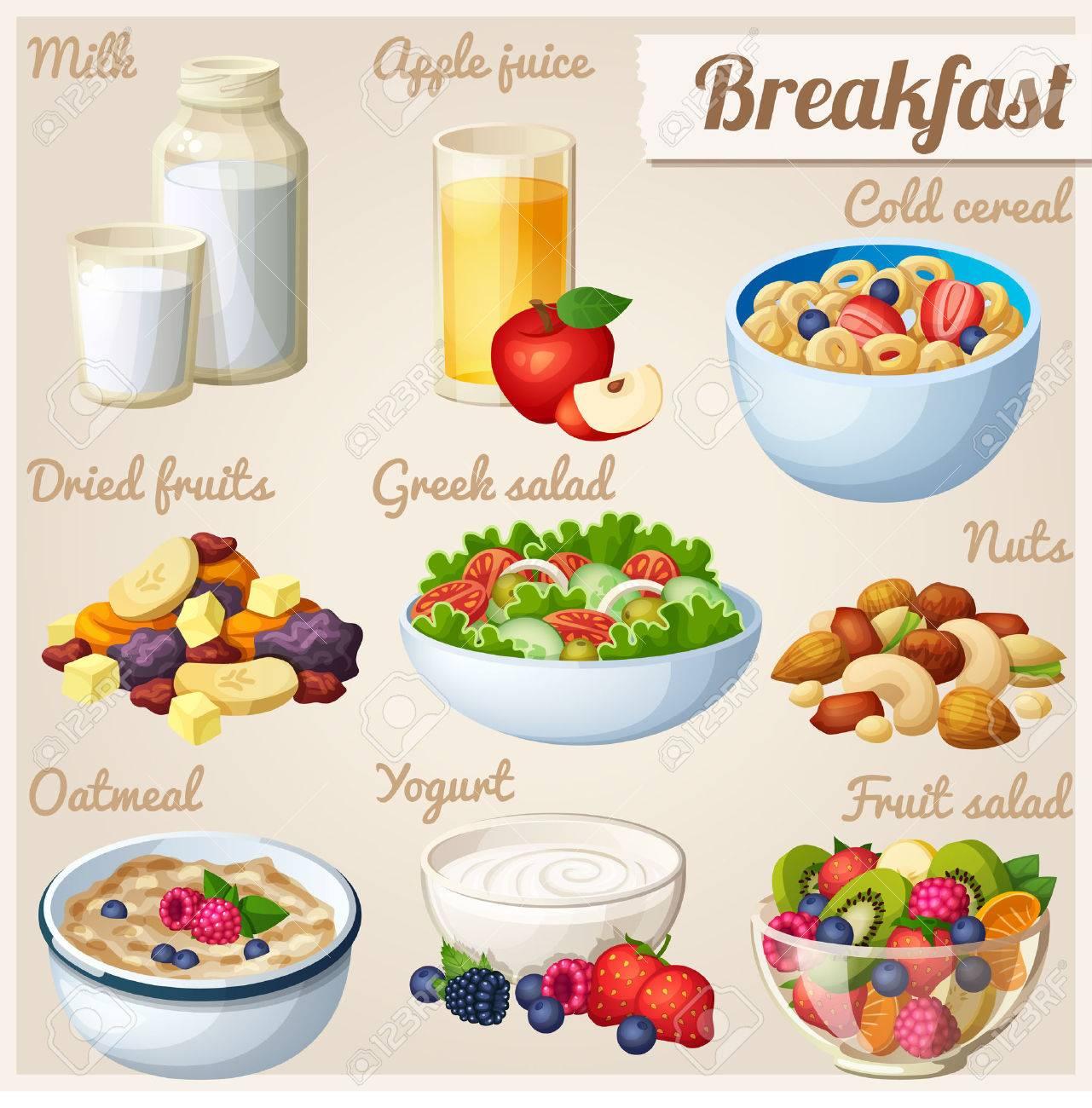 Breakfast 2. Set of cartoon vector food icons. - 50774566
