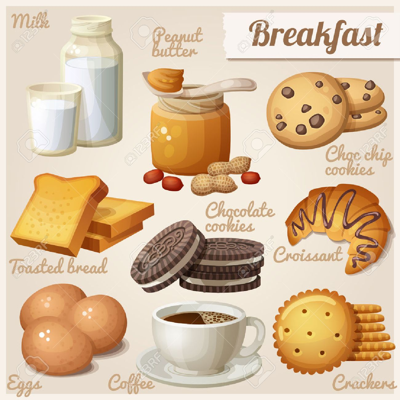 Breakfast 3. Set of cartoon vector food icons. Milk, peanut butter, choc chip cookies, toasted bread, chocolate cookies, croissant, eggs, coffee, crackers - 52776689