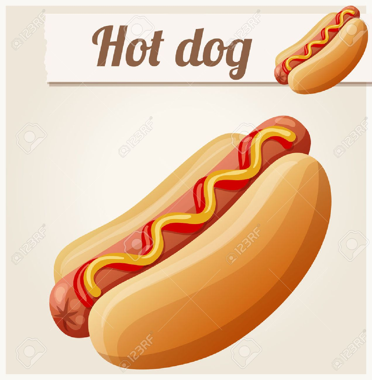 Hot dog. Detailed vector icon. Series of food and drink and ingredients for cooking. - 53778335