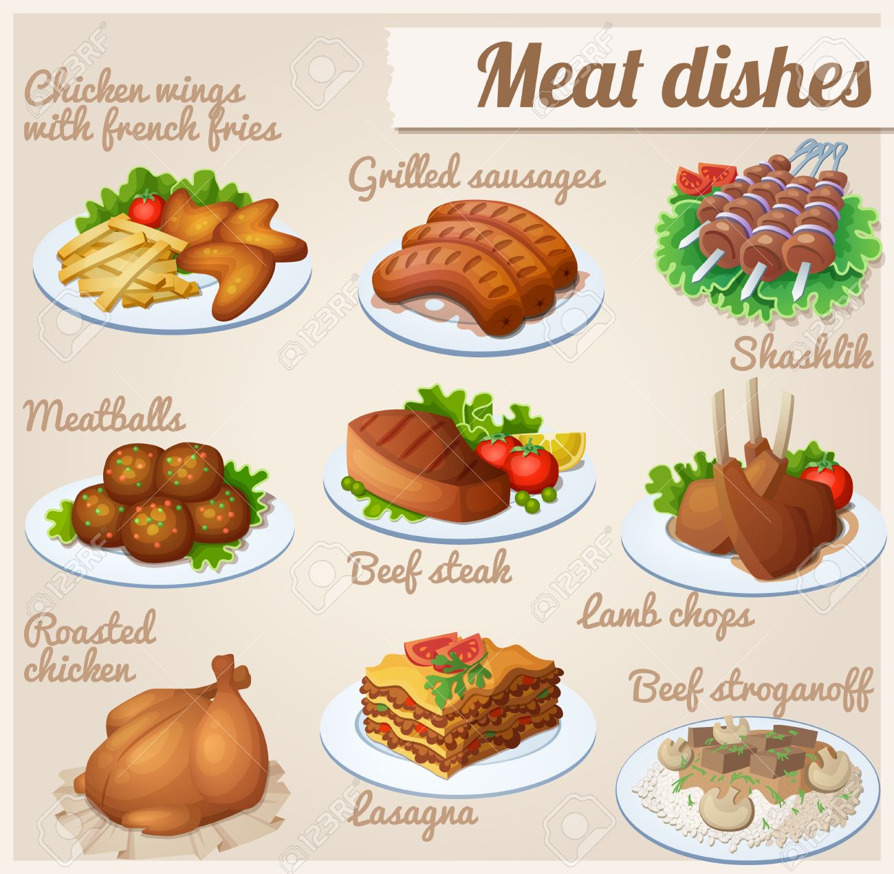 Chicken wings with french fries, grilled sausages, shashlik, meatballs, beef steak, lamb chops roasted chicken lasagna beef stroganoff - 53778453