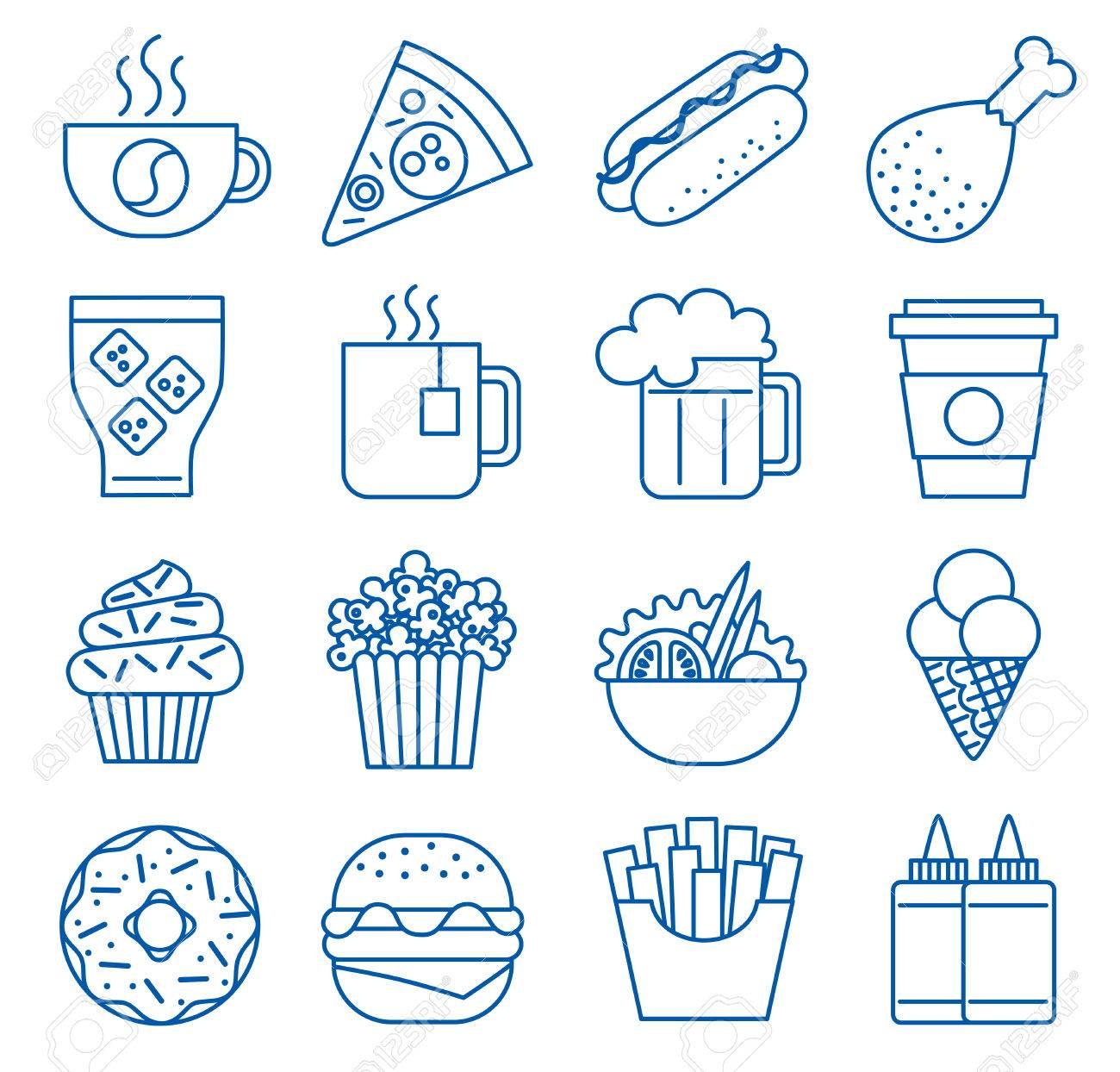 Fast food. Set of line icons. illustration - 53882502