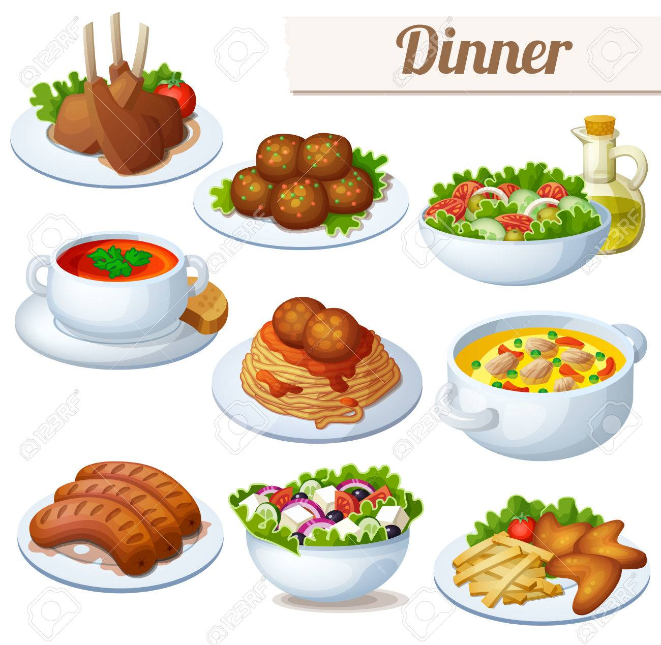 Set of food icons isolated on white background. Dinner. Lamb chops, spaghetti with meat balls, salad with olive oil, cream soup, bollion, grilled sausages, greek salad, chicken wings - 53882506