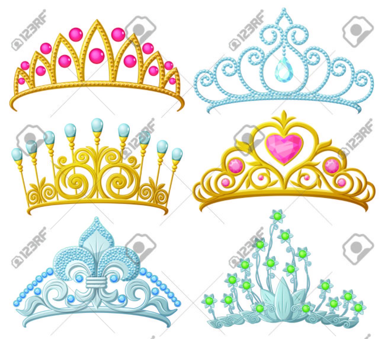 Set of princess crowns (Tiara) isolated on white - 58314845