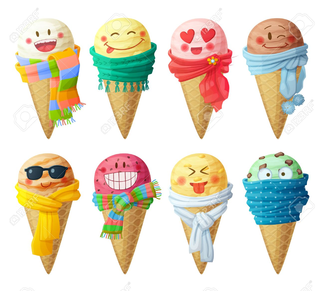 Set of cartoon vector icons isolated on white background. Ice cream scoops characters. Funny faces with scarf, smiling - 60381413