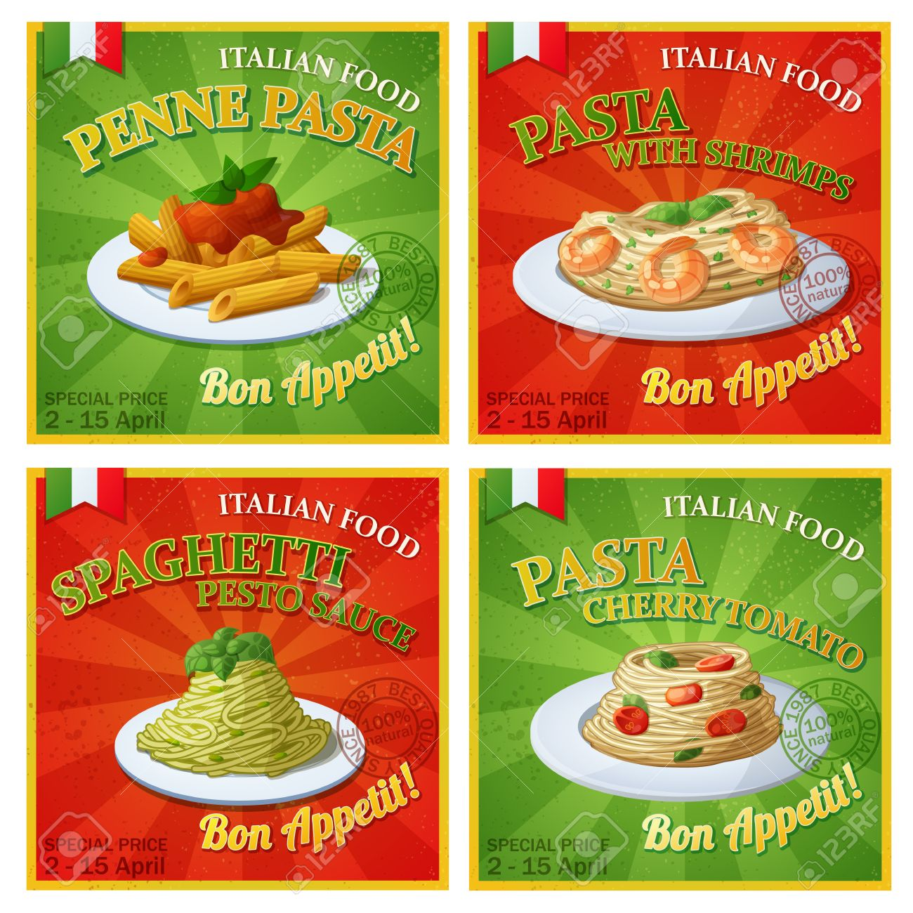 Set Of Italian Pasta Posters Cartoon Illustration Design Templates Food Banners Stock