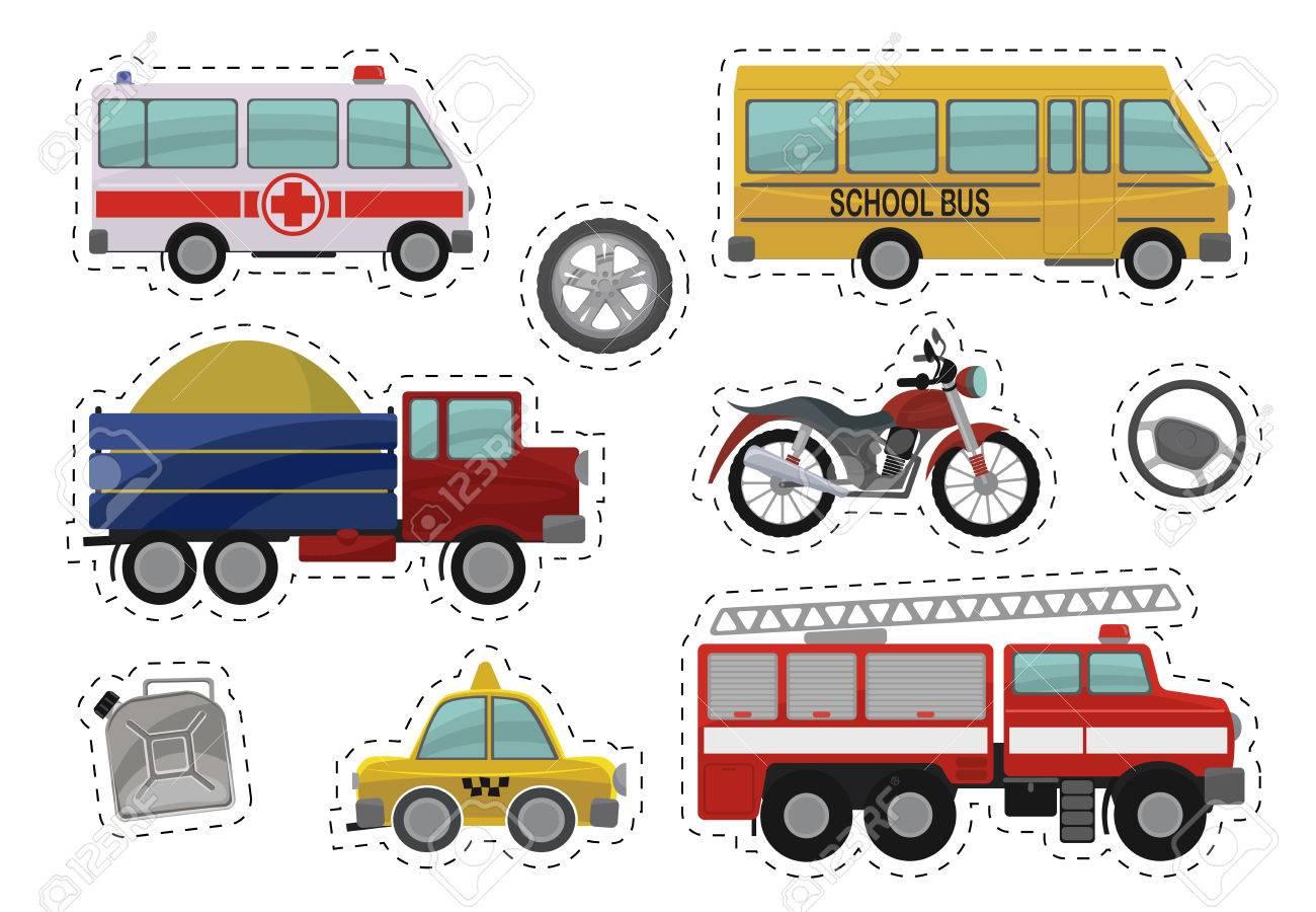 Ilustracion De Dibujos Animados Los Ninos Juguetes De Coches Iconos