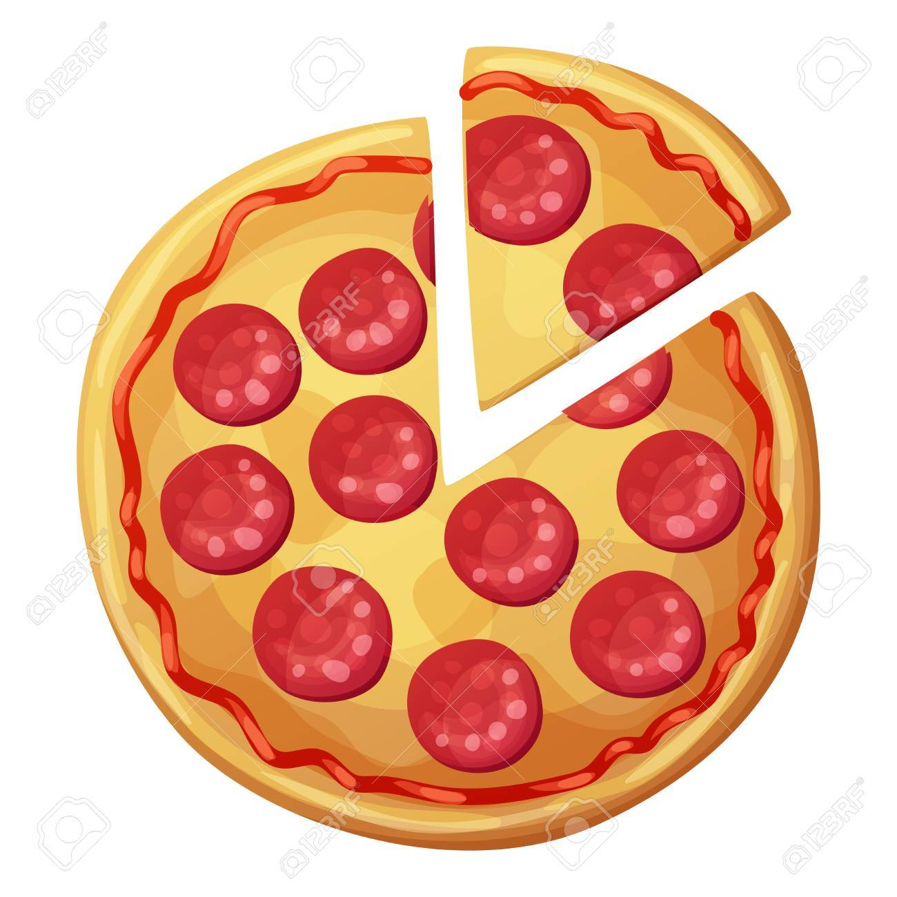 Pepperoni pizza with sausages top view. Cartoon vector food illustration isolated on white background - 69878133