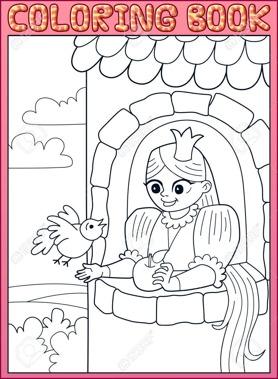 Libro De Colorear Pelo Largo Pequena Princesa Rapunzel En Una