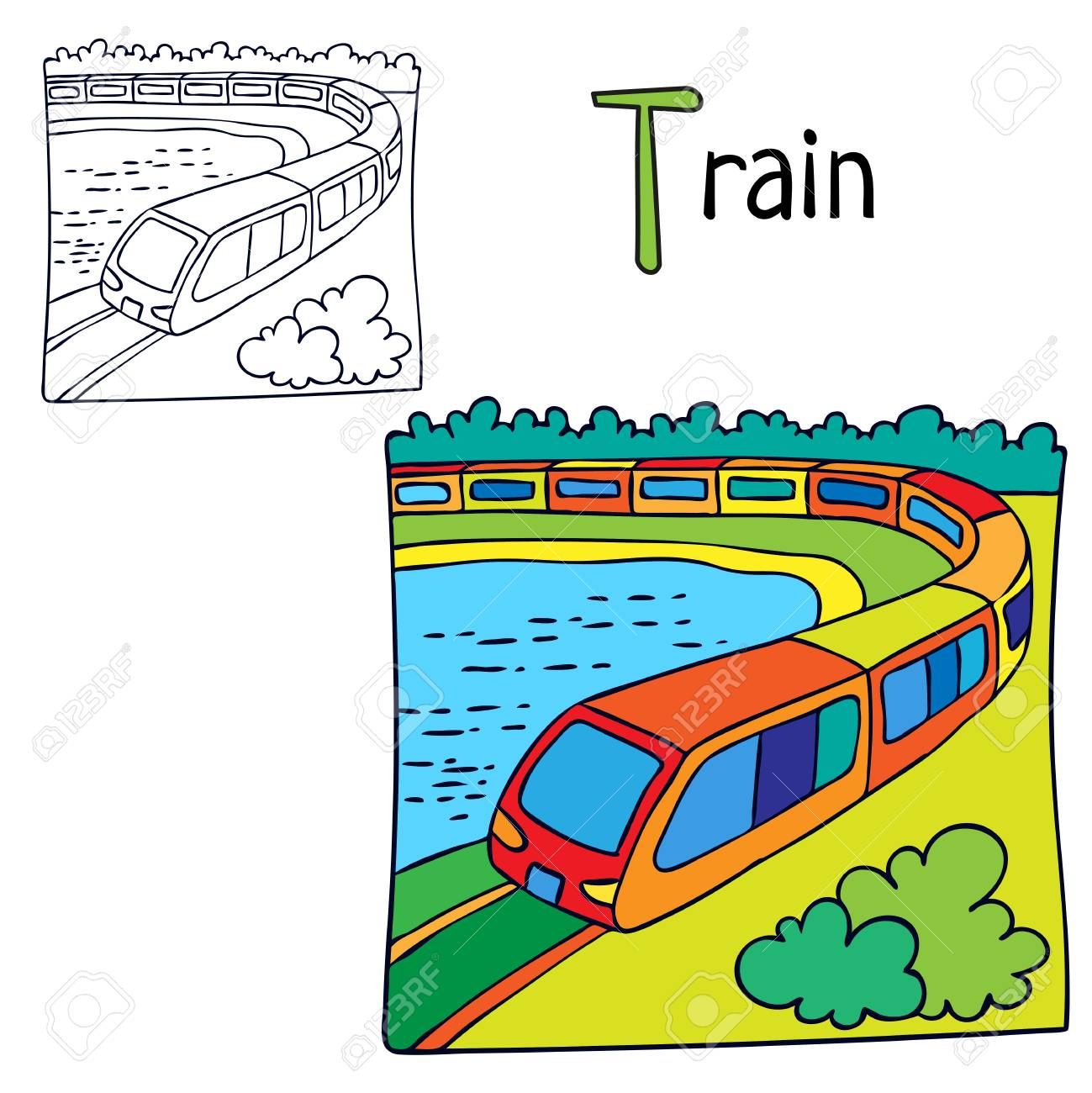 Train. Coloring Book Page. Cartoon Vector Illustration Royalty Free ...