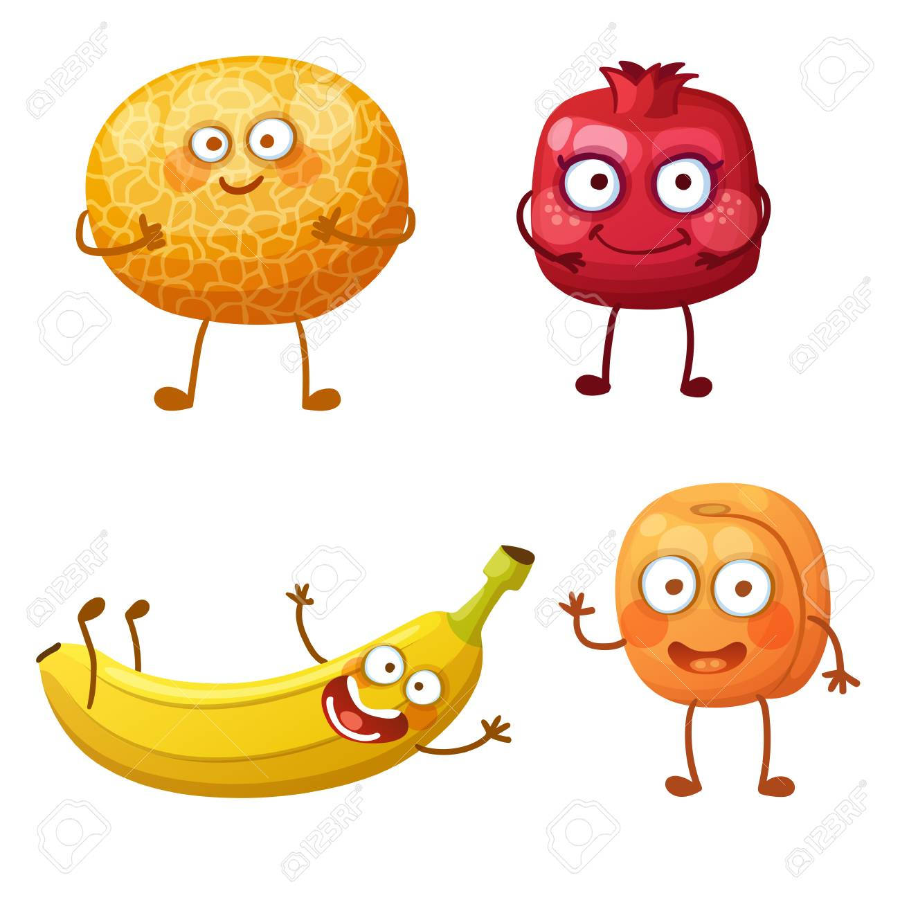 Funny fruit characters isolated on white background  Cheerful