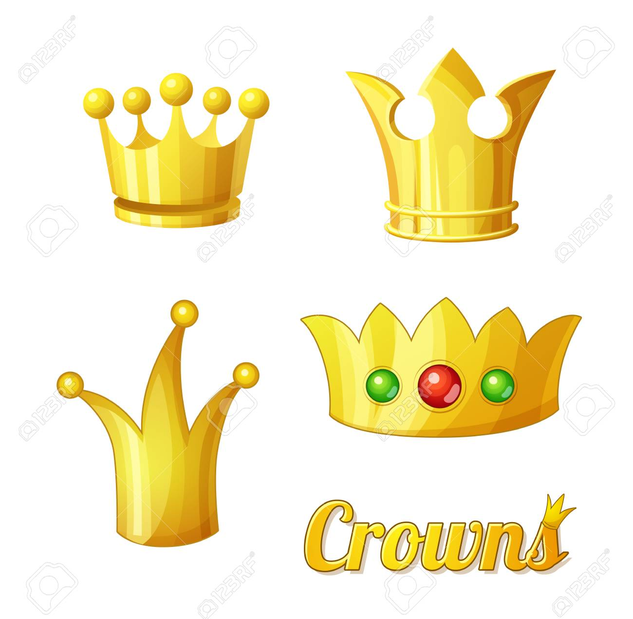Cartoon Vector Golden Crowns Set For King And Queen Crowns Royalty Free Cliparts Vectors And Stock Illustration Image 93811530 Browse our queen crown cartoon images, graphics, and designs from +79.322 free vectors graphics. 123rf com