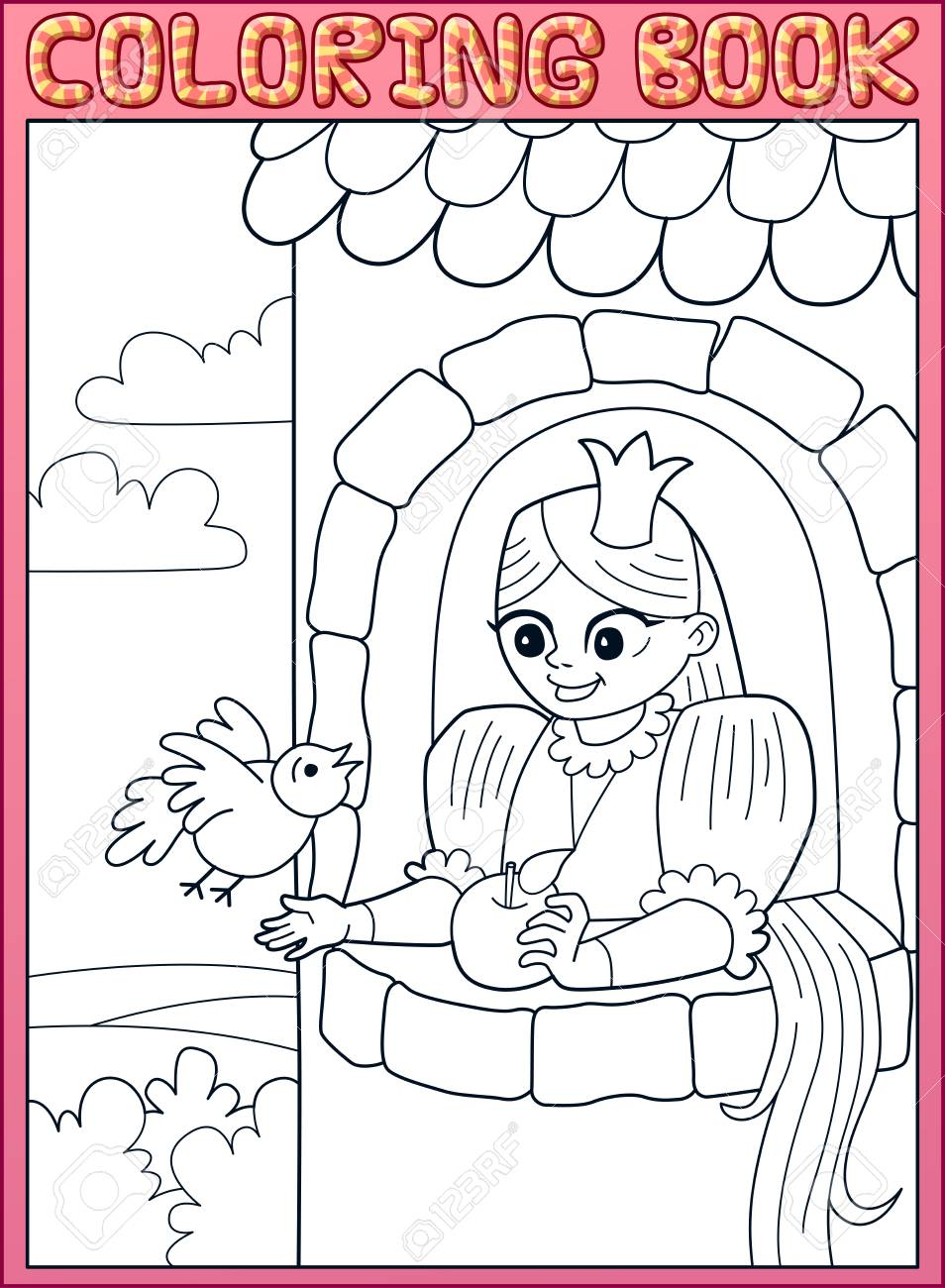 Coloring Book Long Hair Little Princess Rapunzel In A Stone Tower Stock Vector