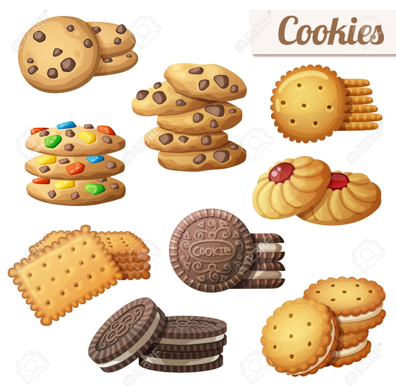 Cookies. Set of cartoon vector food icons isolated on white background - 95208512