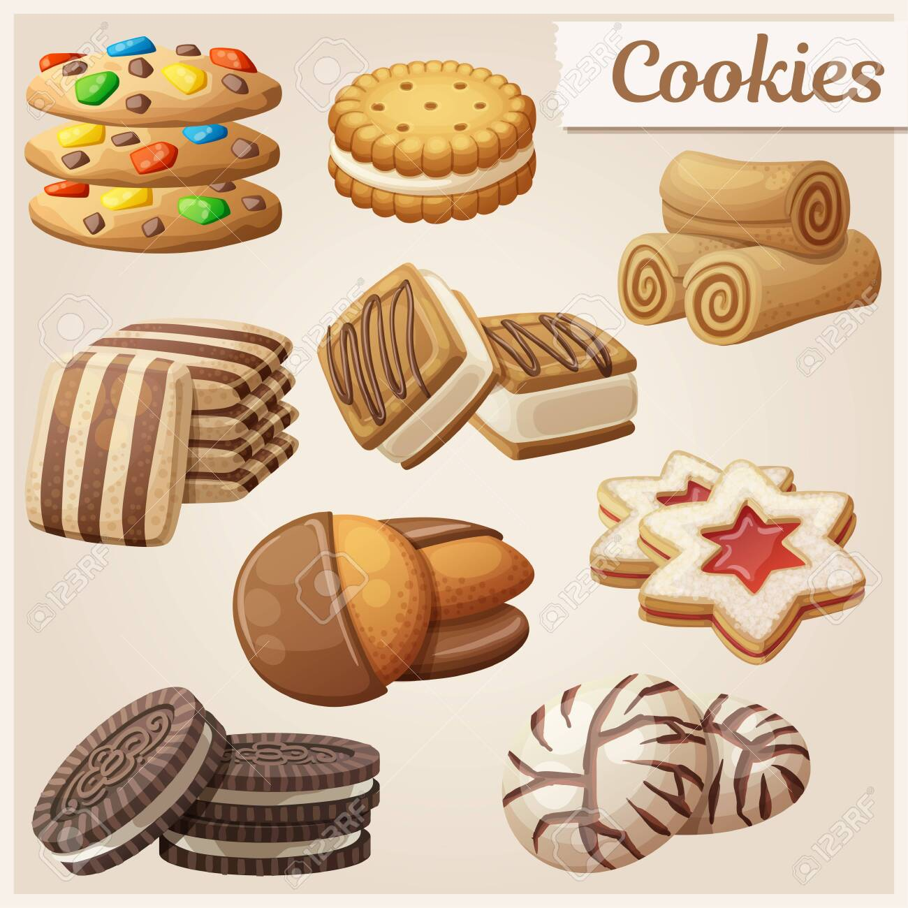 Set of delicious cookies. Cartoon vector illustration. Food sweet icons. - 124339679